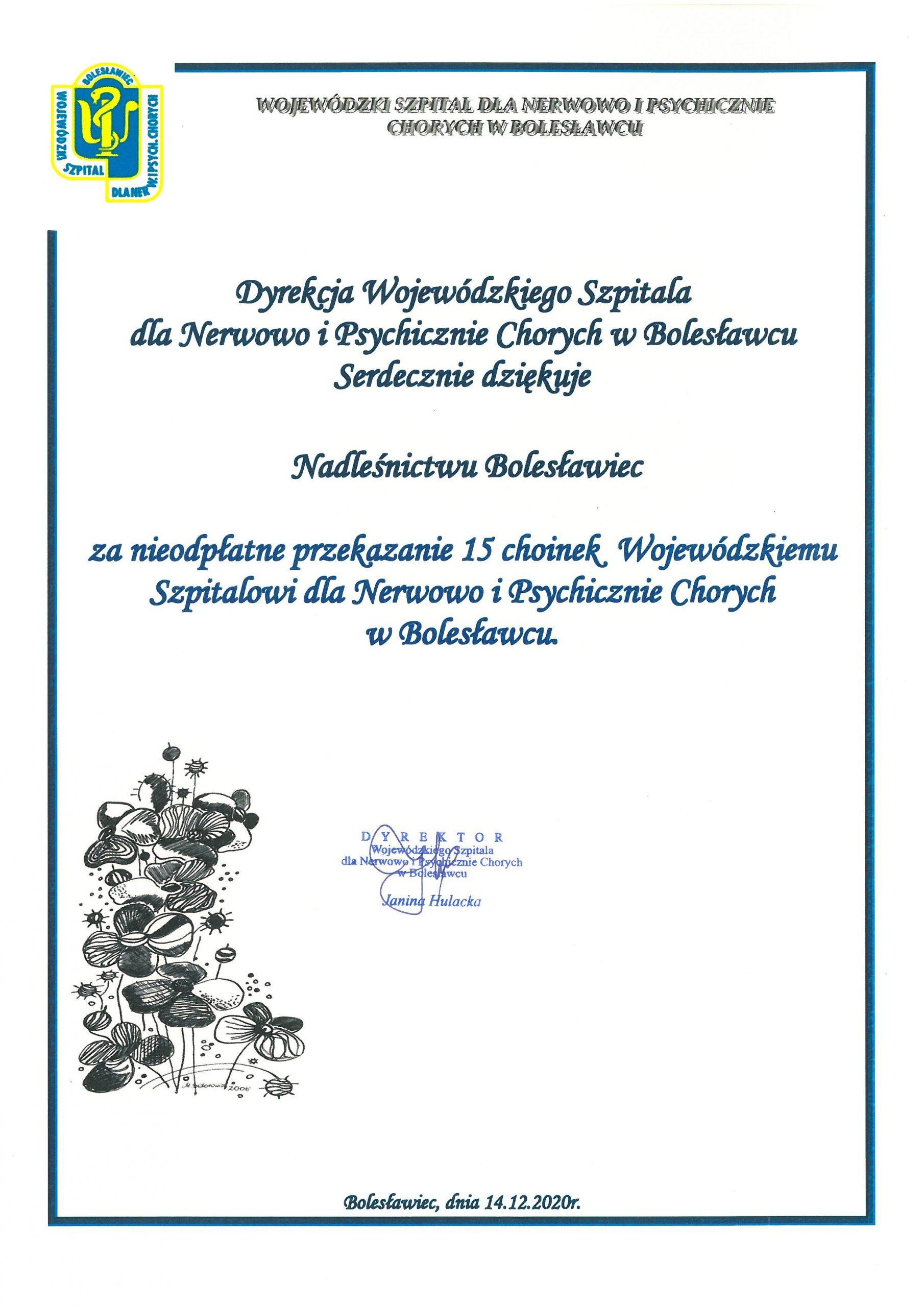 Podziękowania dla Nadleśnictwa Bolesławiec
